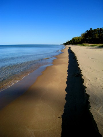 Increased water levels on Lake Michigan cause a sandy shadow