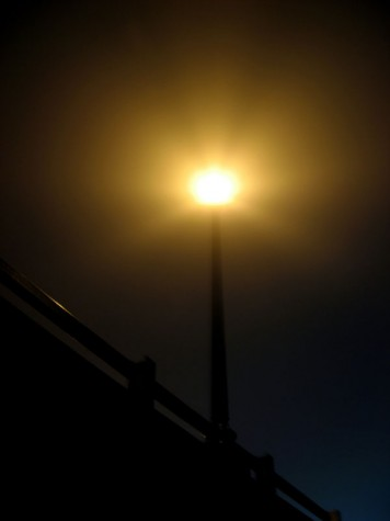 One of the lights on the Causeway bridge on the morning of November 5, 2006