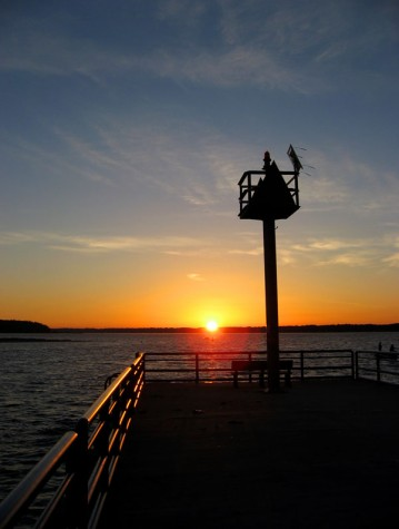 Sunrise as seen from Muskegon County\'s White Lake channel on September 29, 2007