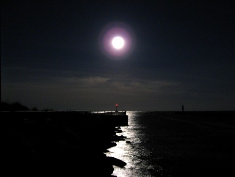 The full moon over the White Lake channel on October 7, 2006.