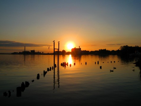 The sunrise over the city of Muskegon on June 11, 2008