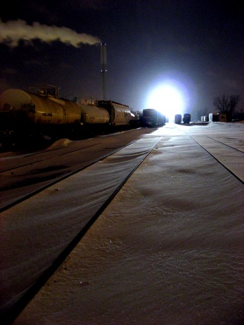 The tower light near the Muskegon River bridge illuminates the northern railroad yards on February 1, 2008