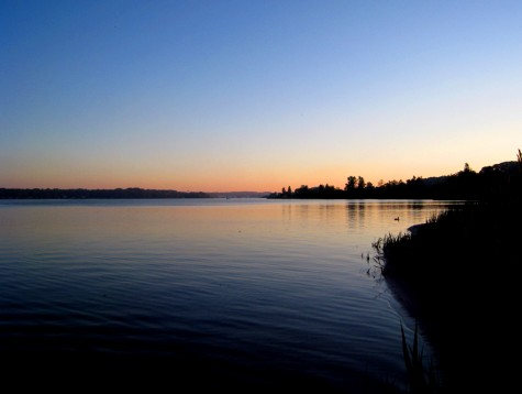The view at dawn looking across White Lake into Montague on June 7, 2008
