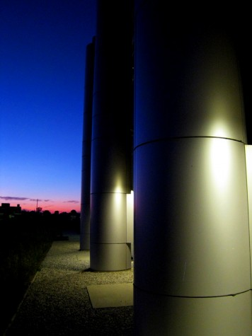 The storage tanks at Muskegon's GVSU Energy Center