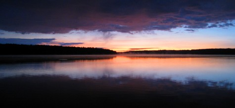 The sunrise over Duck Lake looking from the western shore.