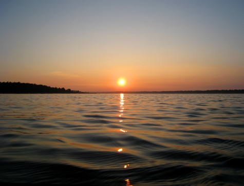 The morning view from a kayak heading in from the channel on Muskegon County's White Lake.