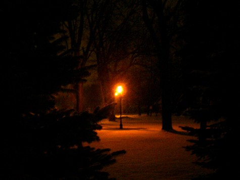 A lamp lights the walking path in Muskegon's Heritage Landing on a December morning in 2005.