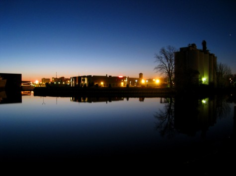 The lights of downtown Muskegon from Heritage Landing.