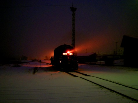 A railroad engine crosses Muskegon's Northern Rail Yard on the morning of January 26, 2010