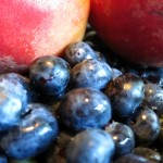 Peaches and blueberries from the farmers market in Montague, Michigan, June 28, 2012